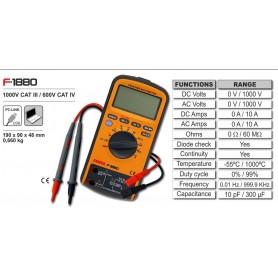 F-1880 - TESTER Multímetro digital USB 1000 V CAT III / 600 V CAT IV