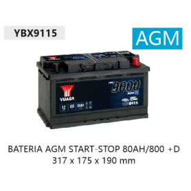 YBX9115 12V 80Ah 800A Yuasa AGM Start Stop Plus
