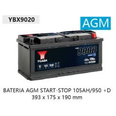YBX9020 12V 105Ah 950A Yuasa AGM Start Stop Plus 393 x 175 x 190 mm