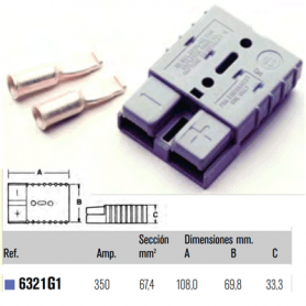 6320G1 - CONECTOR HERMAFRODITA GRIS 350A