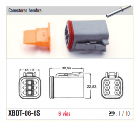 XBDT-06-3S - KIT CONECTOR ESTACONECTOR 3 POLOS (HEMBRA)