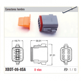 XBDT-06-8SA - KIT CONECTOR ESTACONECTOR 8 POLOS (HEMBRA)