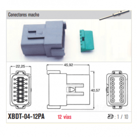 XBDT-04-8PA - KIT CONECTOR ESTACONECTOR 8 POLOS (MACHO)